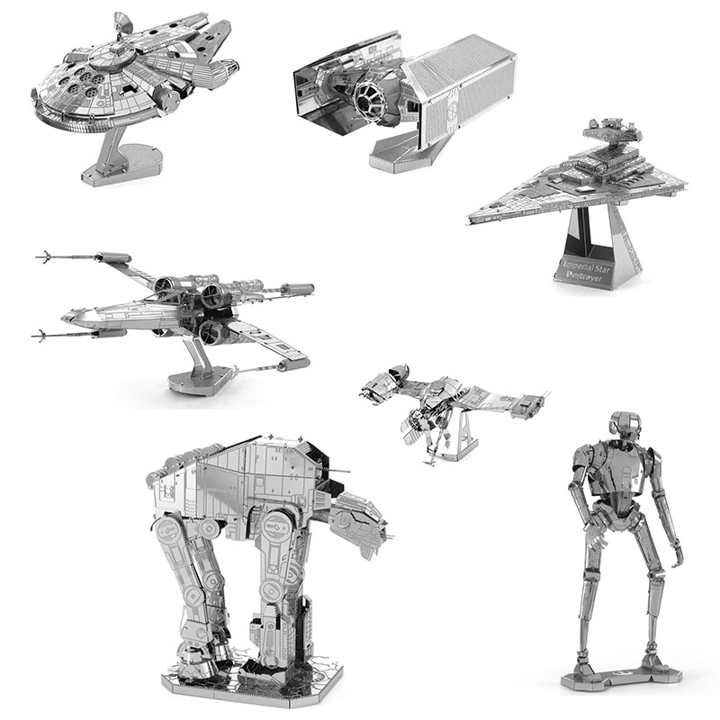 3D DIY Metal Jigsaw Puzzle Stereoscopic Spacecraft Model Assemble Toys Mini Star Wars Series Battleship Character Model Kids Toy(China)