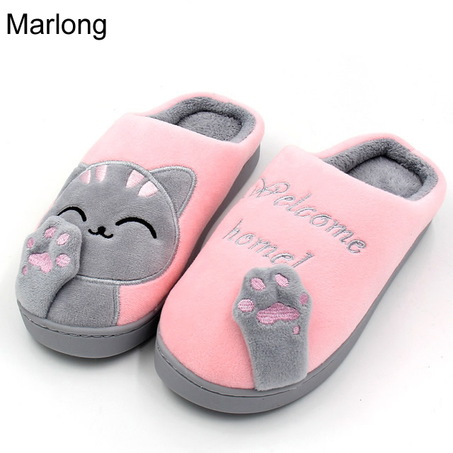 Marlong Women Home Slippers Cartoon Cat Home Shoes Non-slip Soft Winter Warm Slippers Indoor Bedroom Loves Couple Floor Shoes women floral home slippers cartoon flower home shoes non slip soft hemp slippers indoor bedroom loves couple floor shoes