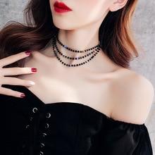 JCYMONG Мода 3 слоя Черный Кристалл бусины колье ожерелья для женщин Серебряный цветной круг воротник ключицы цепи корейские ювелирные изделия