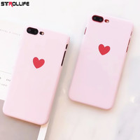 STROLLIFE Cartoon Red Love Heart Phone Cases For iPhone 7 case Ultra thin Frosted Hard PC Pink Back Cover For iPhone 7Plus 6 6s