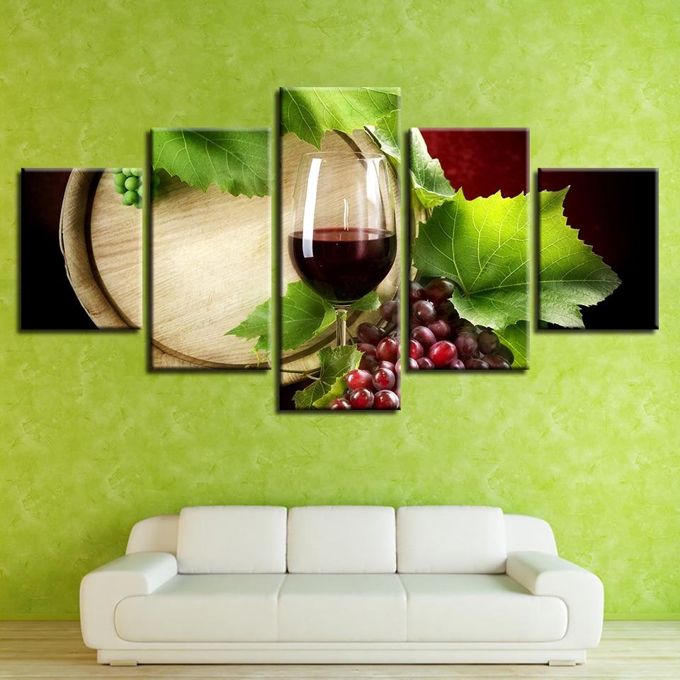 HD Gedruckt Leinwand Moderne Wohnzimmer Malerei 5 Panel Weintrauben Blatt  Wandkunst Modulare Poster Home Dekoration Bilder Rahmen