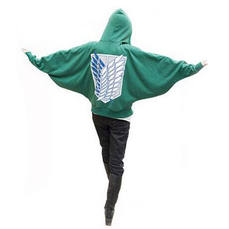 Attack On Titan Costumes Anime Cosplay Bat Hoodie Shingeki No Kyojin Sweatshirt Green Loose Hoodie Man Women