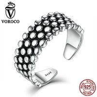 VOROCO 100% Authentic 925 Sterling Silver Retro Style Spots Pave Stylish Party Rings For Women Original Jewelry Fine Gift