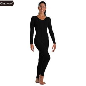 Ensnovo Adult Spandex Nylon Lycra Full body Custom Second Skin Tight Suits Long Sleeve Ballet Unitard Women Dancewear Bodysuit