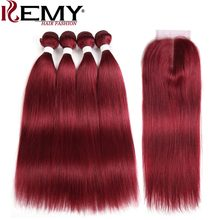 99J/Burgundy Red Color Human Hair Bundles With Closure 4*4 KEMY HAIR Brazilian Straight Human Hair Weave Bundles Non Remy Hair(China)