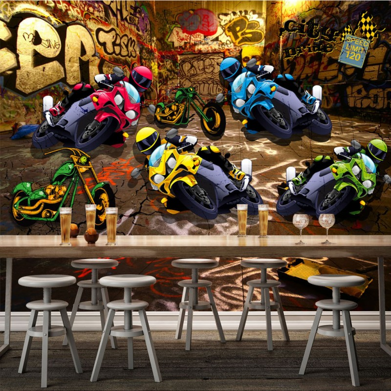 Free Shipping 3D street motorcycle racing graffiti style background wall decoration painting stereo wallpaper custom mural action figure pokemon
