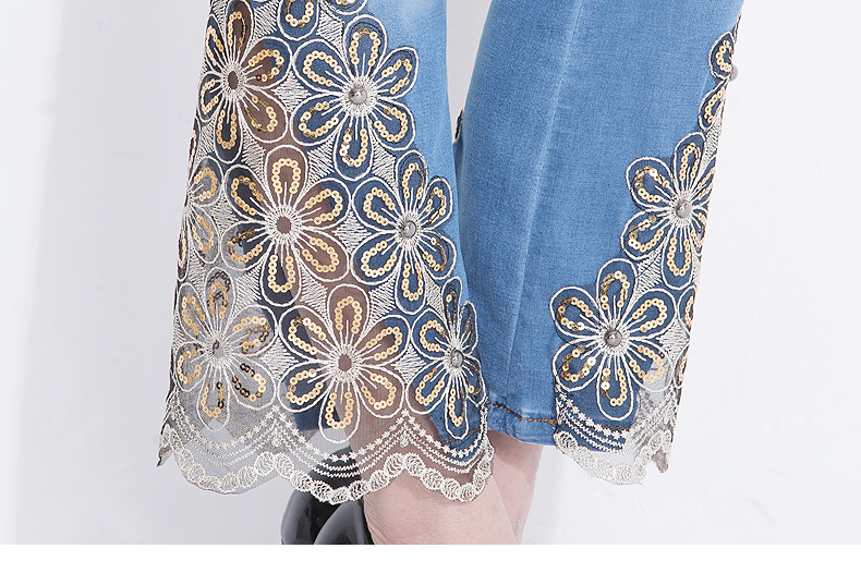 KSTUN Women Jeans Embroidered Flare Pants Sequined Summer Thin Stretch Bell Bottoms Black Blue Lace Designer Female Fashion 2018 20