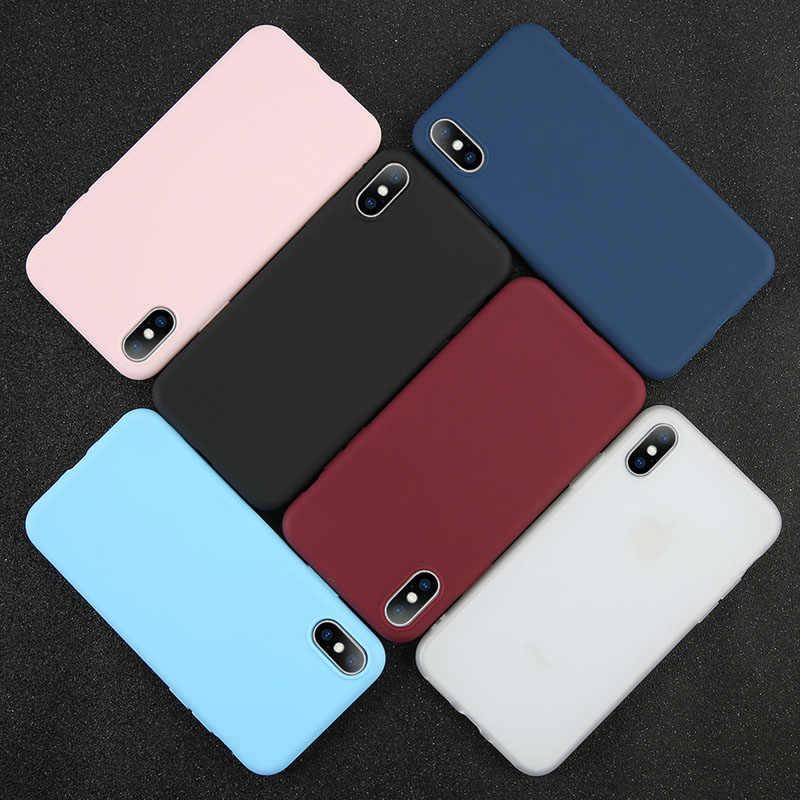 直接販売シンプルなソリッドカラーの超薄型ソフト Tpu バックカバー電話ケース iphone 7 6 6 s 8 X プラス 5 5 s 、 se Xr Xs 最大