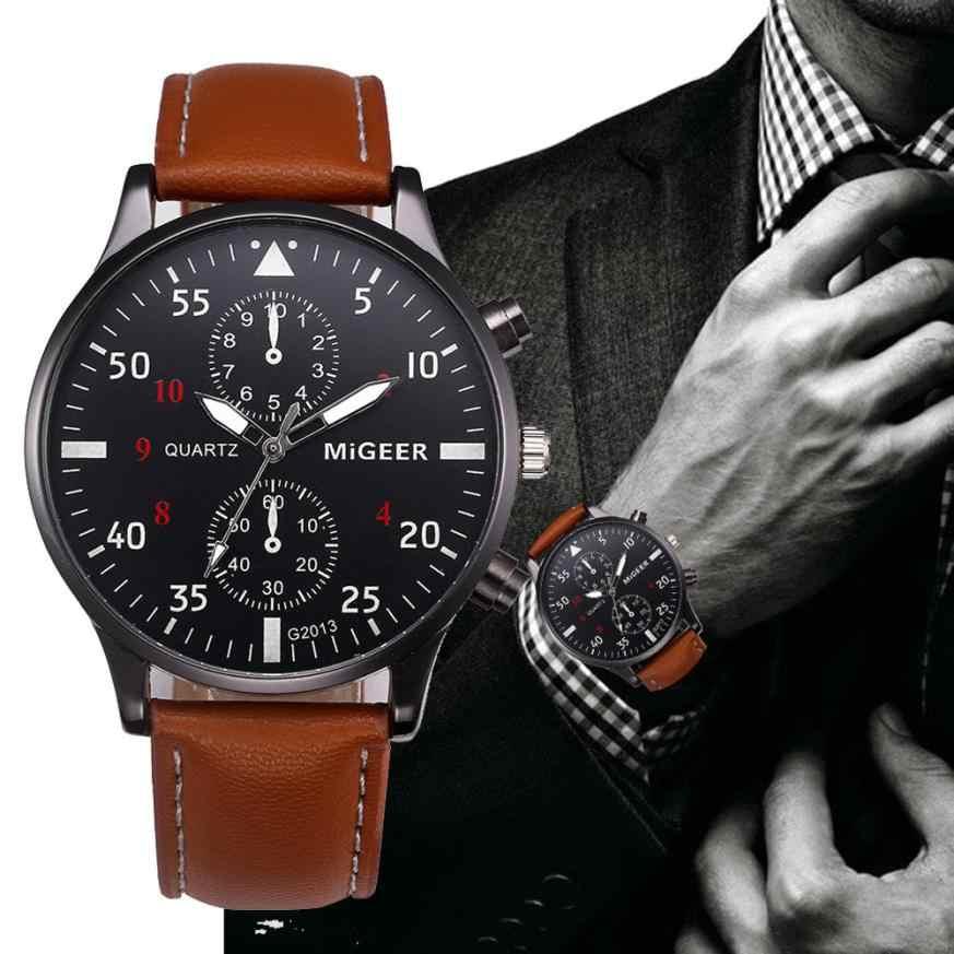 2019 Pria Baru Fashion Top Merek Tanggal Mewah Desain Retro Bisnis Kulit Berkualitas Tinggi Relogio Masculino Reloj