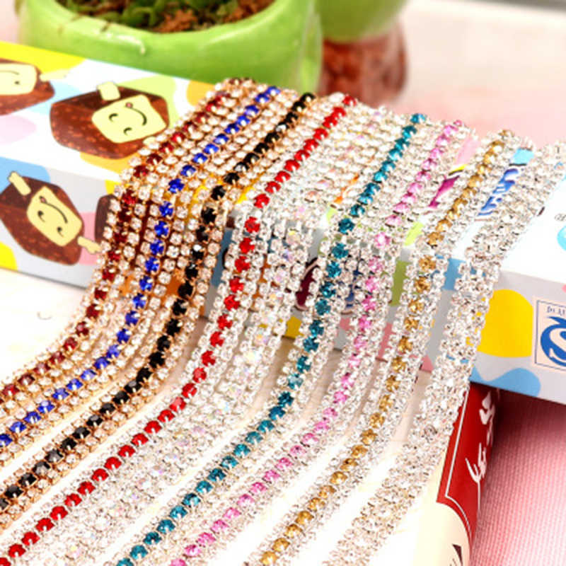 Multicolor Crystal Rhinestone Cup Chain Silver Base Claw for DIY Sew Jewelry Decoration 1 Yards 9mm Wide 3 Rows Abreast Design