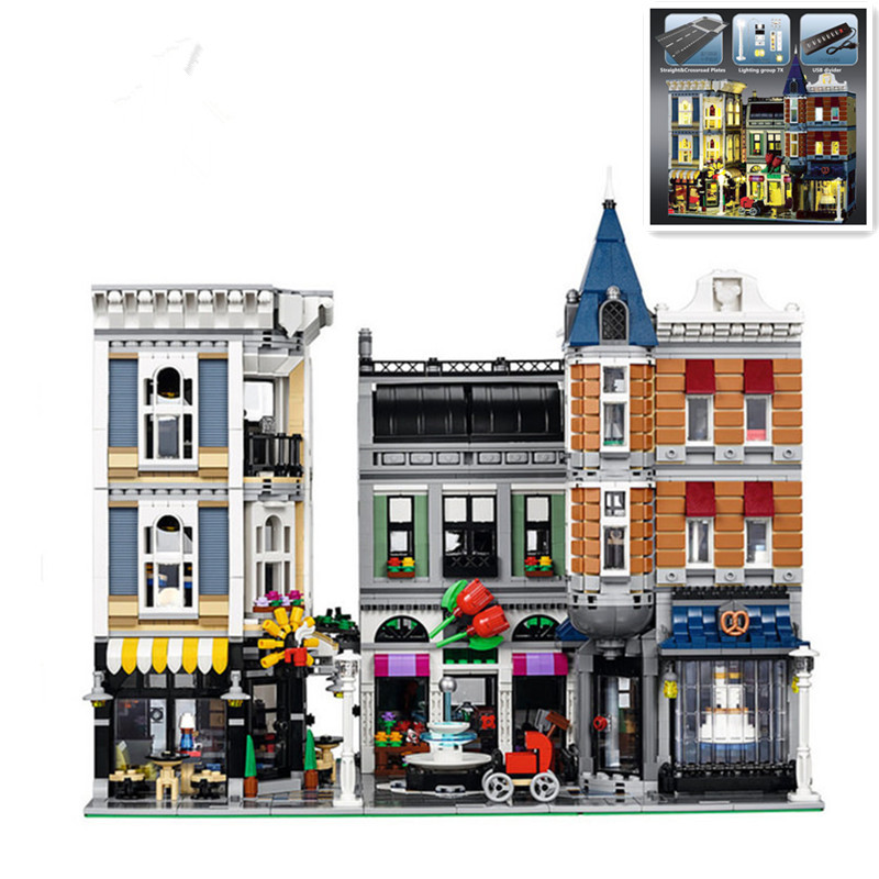 IN STOCK H&HXY 15019 4002pcs 15019B 4122pcs light blocks Assembly Square City Series LEPIN Model Building Kits toy Bricks 10255 in stock with light 15019b 4122pcs lepin 15019 4002pcs assembly square city serie model building kits brick toy compatible 10255