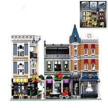 В наличии H & HXY 15019 4002 шт. 15019b 4122 шт. свет блоки в сборе квадратный город серии Лепин Конструкторы игрушка кирпичи 10255