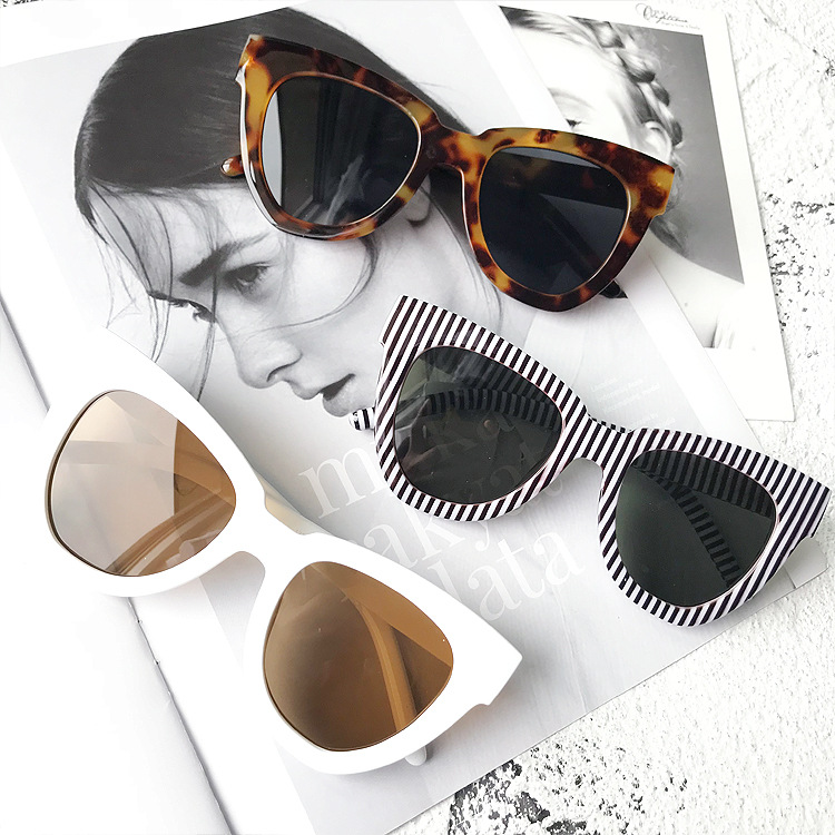 New square sunglasses fashion retro big box sunglasses thin anti-UV eye protection sunglasses(China)