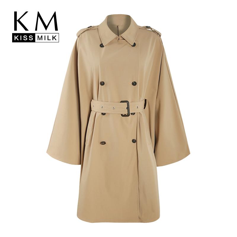 Kissmilk 2019 Stylish Simplicity Temperament Large Size Double-breasted Belt Asymmetry Cape Sleeve Medium Long   Trench   Coat