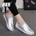 HKR 2017 spring women ballet flats casual shoes genuine leather shoes ladies slip on loafers flats shoes sliver boat shoes 505