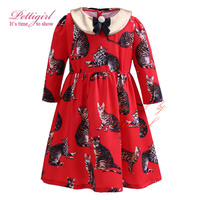 2017 Pettigirl Girl Dresses With Removable Collar Full Sleeve Red Cat Cotton Dress 2-12 years Party Dress G-DMGD908-863