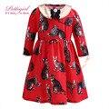 2017 pettigirl vestidos da menina com removível collar completo manga gato vestido de algodão 2-12 anos vestido de festa vermelho g-dmgd908-863