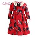 2017 vestidos de niña con cuello desmontable pettigirl gato rojo de la manga completa vestido de algodón 2-12 años vestido de fiesta g-dmgd908-863