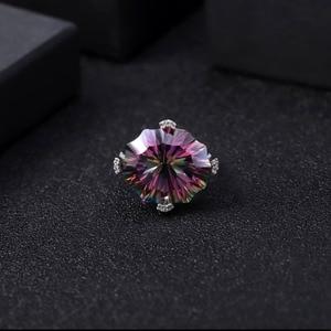 Image 2 - GEMS balet Natural Rainbow Mystic kwarcowy pierścionek koktajlowy 925 Sterling Silver nieregularne pierścienie z kamieniami szlachetnymi Fine Jewelry dla kobiet