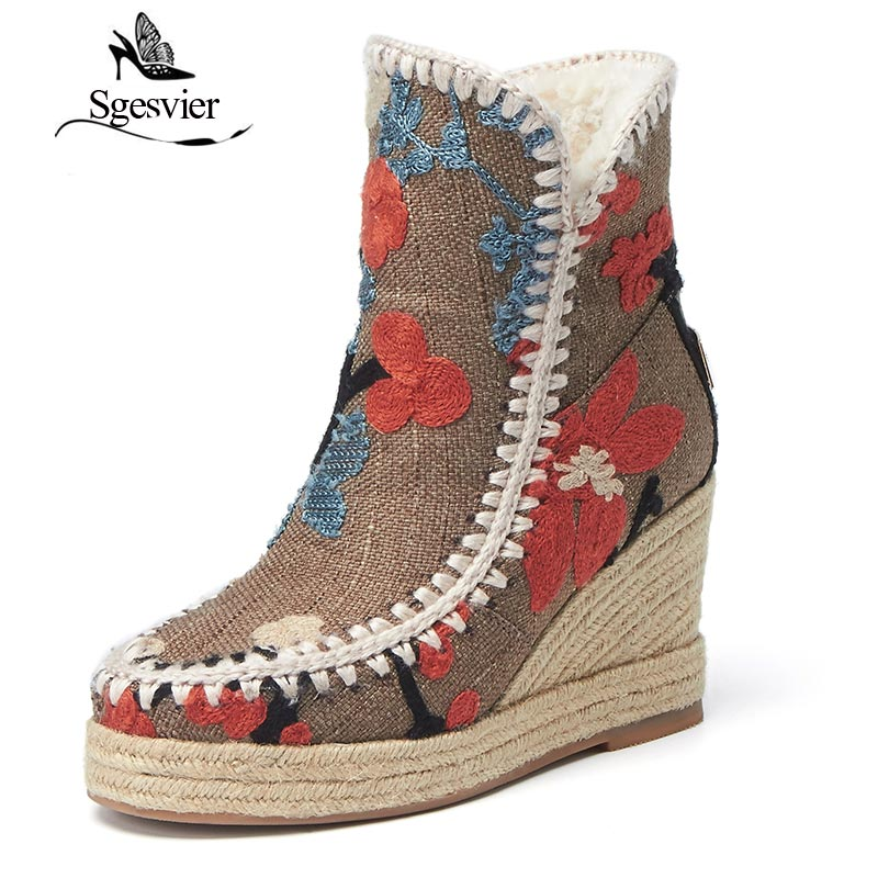 SGESVIER Warm Snow Boots Ankle Boots High Heel Wedge Boots Retro Round Toe Slip On Casual Shoes Winter Shoes for Women OX148 sgesvier women boots snow boots 2017 winter platform heel casual knee high round toe buckle flat size 34 43 lady shoes ox098