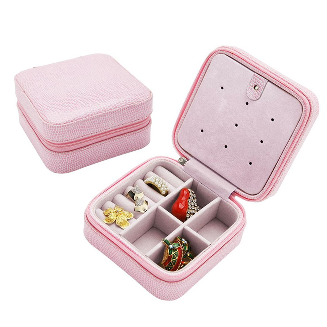 Portable PU Leather Travel Jewelry Organizer Storage Box Case Pink