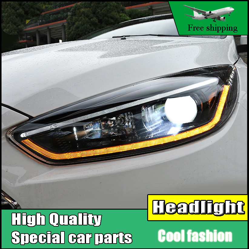 Head Lamp Case For Ford Focus MK3 2015-2017 Headlights LED Headlight DRL Lens Double Beam Bi-Xenon HID Dynamic Turn Signal Light hireno headlamp for 2016 hyundai elantra headlight assembly led drl angel lens double beam hid xenon 2pcs