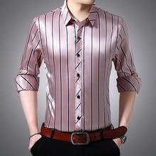 Men Summer Thin Silk Shirt Men Business Casual Shirts Stripe Long Sleeve Print Shirt Cool and breathable