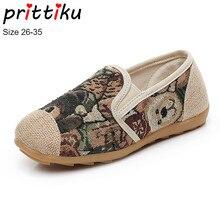 89031d30c Otoño 2018 niñas pintura en tinta china cáñamo pisos niños étnicos  mocasines zapatos del diseñador de moda del niño  niño grande