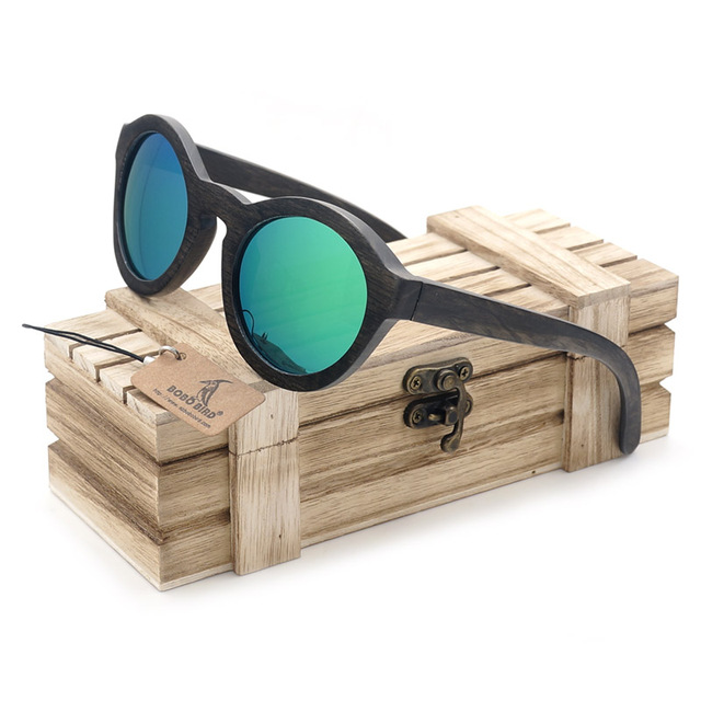 BOBO BIRD G004-1 100% Nature Ebony Wooden Sunglasses New Arrival 2017 Vintage Women Polarized Sun Glasses oculos de sol feminino