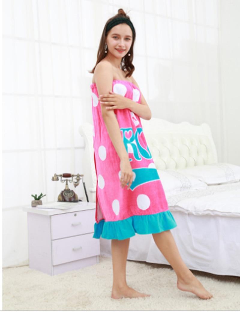 80x120cm round dot print wearable bath towel absorbent quick dry swim beach towel adult womens 100% cotton bath skirt T115