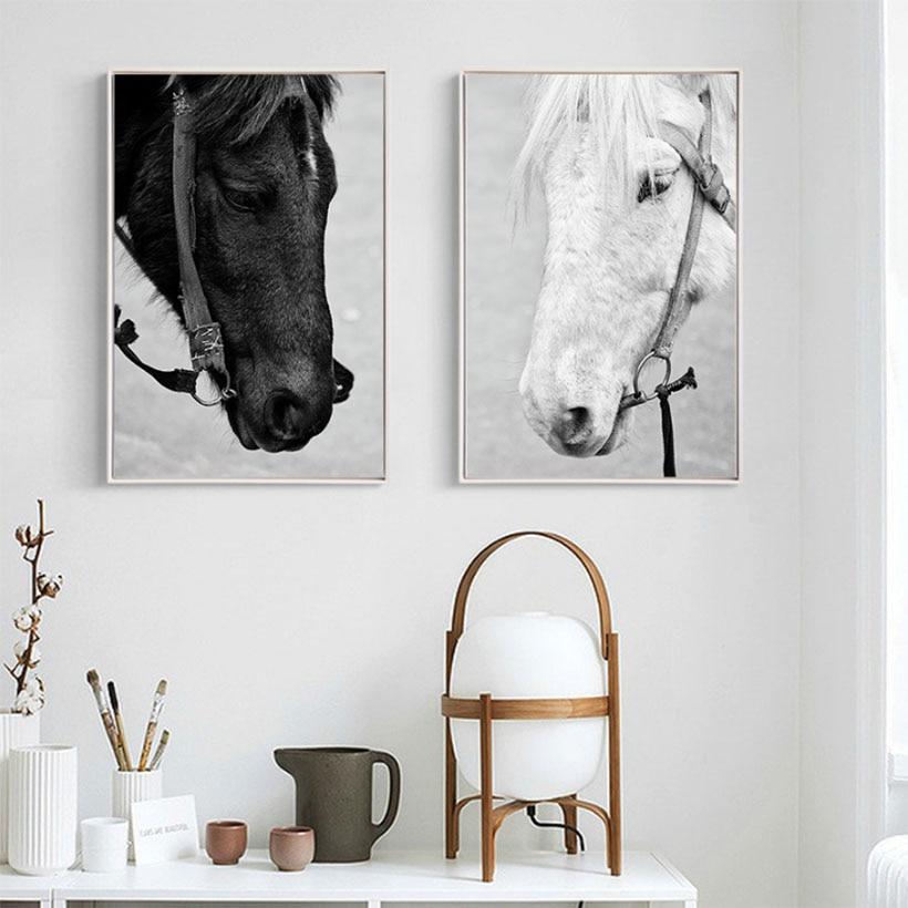 Črno in belo konjsko platno umetniško slikanje olje Živali Natisni - Dekor za dom