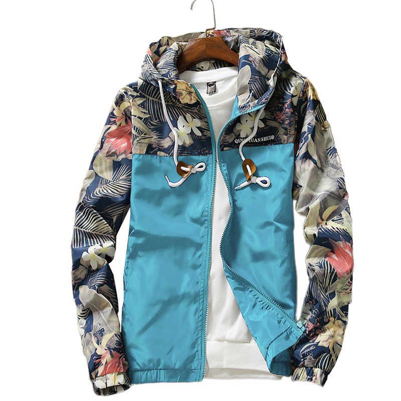 花ジャケット 2019 秋メンズフード付きジャケットスリムフィット長袖オム流行ウインドブレーカーコートブランド服ドロップシッピング