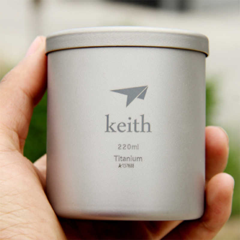 Keith Water Glass 220ml Titanium Double-wall Mug With Lid No Odor Anti-acid No Scale Drinkware Cup Camping Picnic Hiking Ti3301