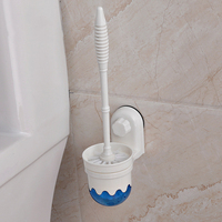 White Suction Cup Plastic Toilet Brush Wall Holder Bathroom Scrub Cleaning Brushes Holder Set Household Cleaning