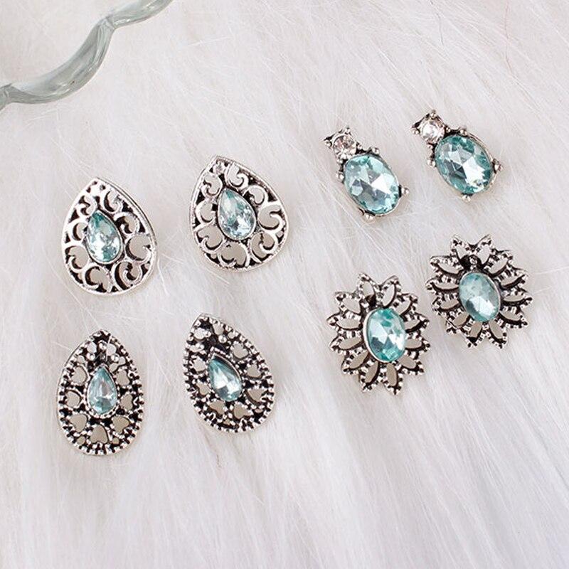 F&U 4 Pairs/Set Water Drop & 3 Other Shapes Women Bohemian Earring Stud Alloy & Blue Rhinestone Core Earring Studs  for Women gold earrings for women