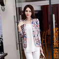 2017 spring womens new Jacquard jacket women fashion large size printing suit women luxury OL casual flower print blazer female