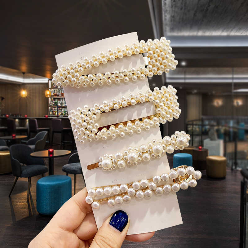 3Pcs / Set Pearl Hair Clip Elegant Korean Design Snap Hairband Comb Bobby Pin Barrette Hairpin Headdress Wedding Accessories