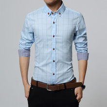 New Fashion Brand Formal Shirt for Men Clothes Slim Fit Shirt Social Plus Size M-5XL