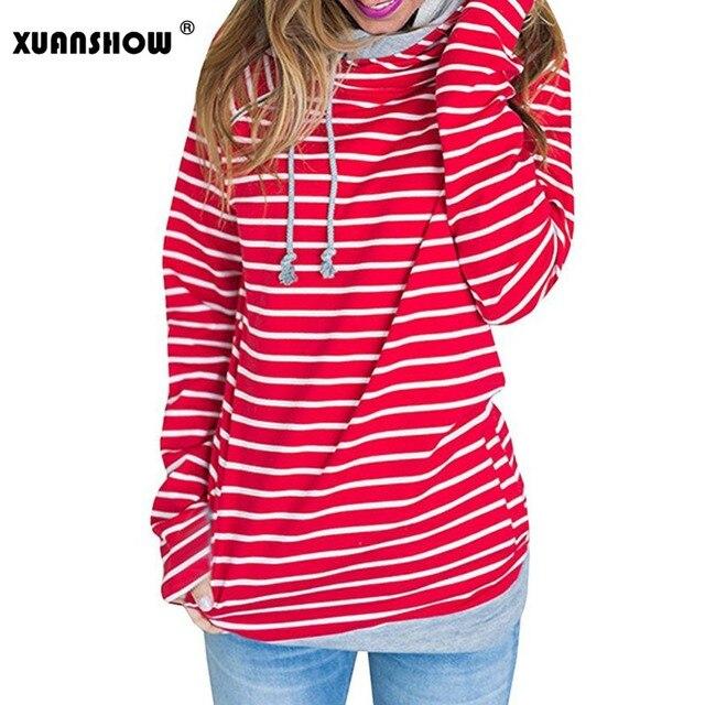 68f05d5d1dfdb1 XUANSHOW jesień zima moda bluzy z kapturem kobiety w paski z długim rękawem  kieszeń na zamek błyskawiczny kobiet sweter ubrania płaszcz Moletom Plus  rozmiar ...