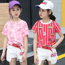 kids clothes Girls Summer Set 2019 New 4-12 years Fashion Cascade Casual Shorts Children Sports
