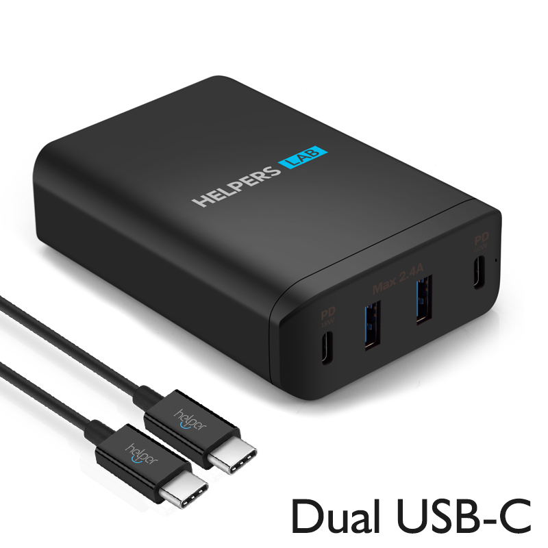 Dual USB C port 60W & 18W and Dual 5V 2.4A USB Port ,for many type c Phone and Laptop like iPhone Macbook etc-in Phone Adapters & Converters from Cellphones & Telecommunications