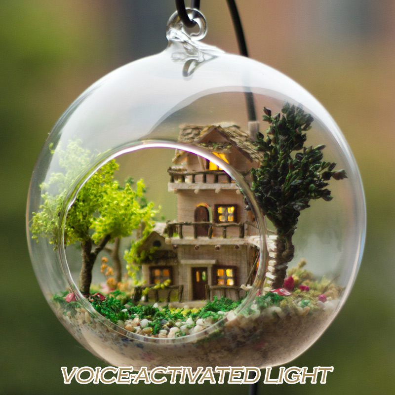 DIY Wooden House Miniaturas with Furniture DIY Miniature Norwegian Tree House Dollhouse Glass Ball Toys for Kids Christmas Gitfs image
