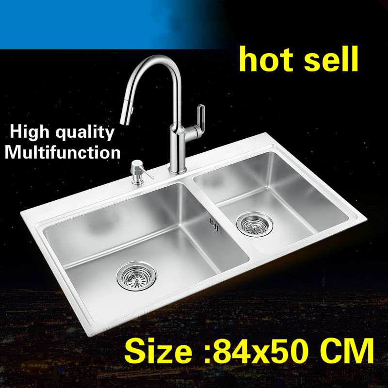 Free Shipping Standard Luxurious Kitchen Double Groove Sink Food Grade 304 Stainless Steel Hot Sell Whole Drawing 84x50 CM