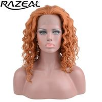 Razeal female women wig deep wave hair heat resistant orange ombre synthetic wigs cosplay for american african high temperature