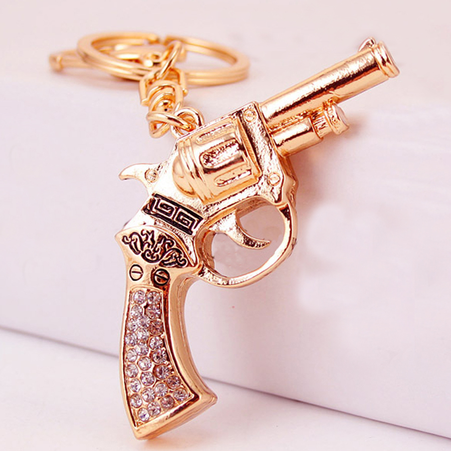 Chaveiro Rhinestone Pistol Style Keychain Charm Women Handbag Keyring Keyfobs Creative Car Key Holder Bag Accessory