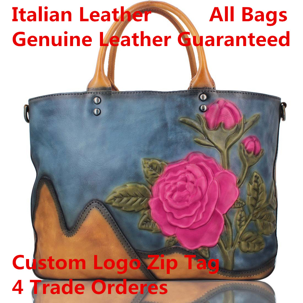 Genuine Italian Leather wholesale genuine leather handbag retro shoulder bag landscape painting first layer leather embossedGenuine Italian Leather wholesale genuine leather handbag retro shoulder bag landscape painting first layer leather embossed