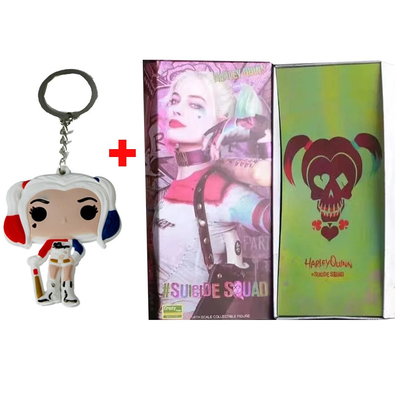 Crazy Toys Suicide Squad Harley Quinn Action Figure and Harley Quinn Keychain Doll Anime Collectible Model Toy 26cm In Boxed (9)