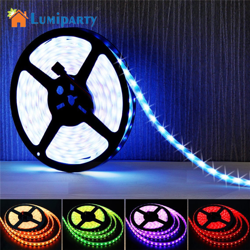 LumiParty5050 DC 5V RGB LED Strip Waterproof 60LED/M USB LED Light Strips Flexible Neon Tape 2M add Remote For TV Background