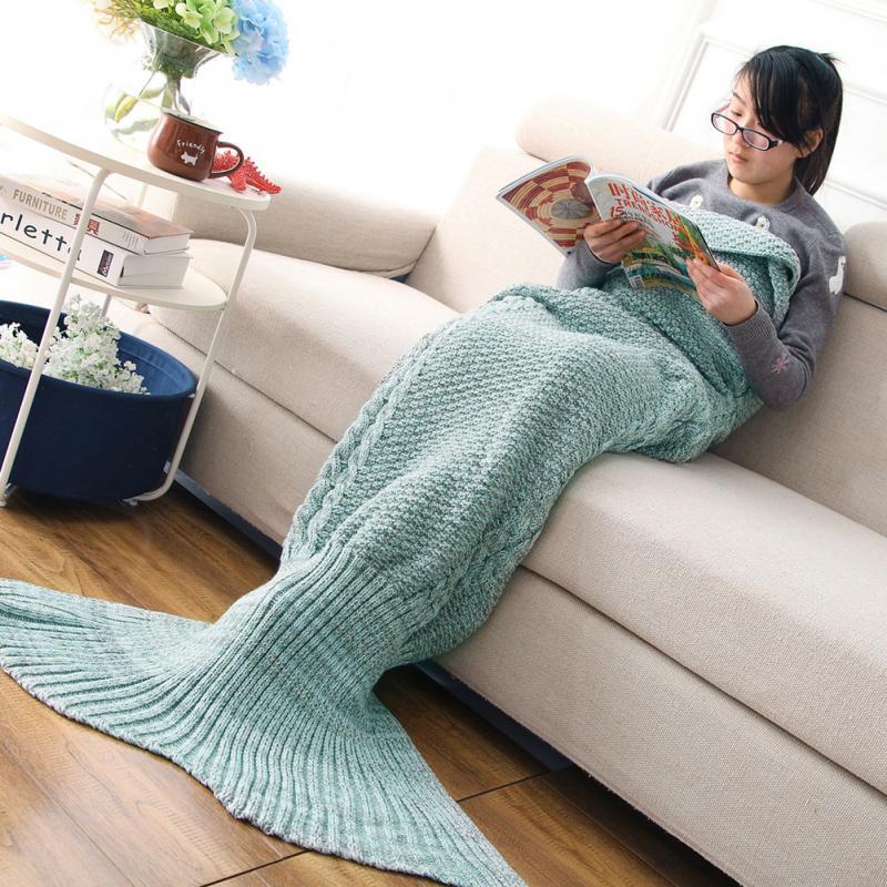 Yarn Knitted Mermaid Tail Blanket Handmade Crochet Mermaid Blanket Adult Throw Bed Wrap Super Soft Sleeping Bag
