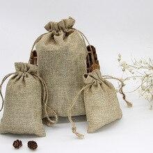 Saco de regalo de yute con cordón Retro Vintage, bolsas para boda, cumpleaños, fiesta, regalo de Navidad y Halloween, bolsas de cáñamo para envolver